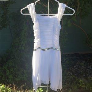 Girl's Sparkly White Formal Dress